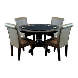 BBO Poker Tables - BBO Poker The Nighthawk Round Poker Table Set w/ 4 Lounge Chairs - Upholstered w - Like a well tailored suit, the Nighthawk poker table from BBO Poker Tables just fits. It fits as the battle field for hard fought hands, and it fits as a stylish piece of decor. The Nighthawk is a 8 player round card table finished in a black gloss. Measuring in at 55in wide, The Nighthawk has a built in chip tray for all players, as well as eight, 4in brushed steel cup holders that can accommodate wine and whiskey glasses. The table features hardwood legs and accents, and features casino grade foam and upholstery.