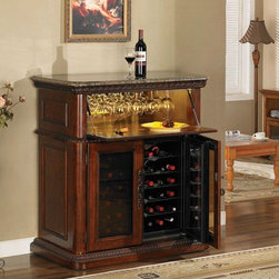 "Tresanti - Rutherford 36 Bottle Wine Cabinet - Features: -Wine cabinet.-High quality cherry veneers and poplar solids.-36 Bottle capacity.-Temperature ranges from 45 degrees F to 65 degrees F.-Polished gray marble top with hand carved wood border.-Drop lid tempered glass door.-Concealed interior storage area with mirrored back panel.-Stemware rack, interior lighting and mirrored panel.-Lower doors lock.-Vintage cherry finish.-Product Type: Wine cabinet.-Finish: Vintage cherry.-Hardware Finish: Pewter door pulls.-Distressed: No.-Powder Coated Finish: No.-Material: Wood, MDF, veneer, packaging.-Hardware Material: Metal hinges for pull down cabinet.-Scratch Resistant: No.-Tarnish Resistant: No.-Mount Type: Floor standing.-Wine Bottle Capacity: 36.-Number of Cabinets: 1.-Number of Doors: 1.-Lockable: Yes.-Handle Design: Finger pulls.-Shelves Included: Yes -Number of Interior Shelves: 1.-Adjustable Shelves: No..-Lighted: Yes -Number of Lights: 2.-Adjustable Light: Yes.-Light Control: Touch lighting.-Bulb Type: LED.-Bulb Included: Yes..-Plug-In: Yes.-Removable Serving Tray Included: No.-Ice Bucket Included: No.-Wine Glass Storage Included: Yes -Wine Glass Capacity: 6..-Glasses Included: No.-Adjustable Levelers: No.-Stackable: No.-Foldable: No.-Removable Bottle Racks: Yes.-Commercial Grade Welding: No.-Bottle Size Compatibility: 750 ml.-Weight Capacity: 75 lbs.-Outdoor Use: No.-Commercial Use: Yes.-Recycled Content: No.-Eco-Friendly: No.-Product Care: Wipe clean with a dry cloth.-Gloss Finish: Yes.-Solid Wood Construction: No.-Door Attachment Detail: Hinges.-Refrigerated Cabinet: Yes -Refrigerated Cabinet Temperature Range: 45 - 65 degrees F..-Mirrored Back: Yes.Specifications: -UL Listed: No.-cUL Listed: No.-ISTA 3A Certified: No.-ISO 9000 Certified: No.-ISO 14000 Certified: No.Dimensions: -Overall Height - Top to Bottom: 44.5"".-Overall Width - Side to Side: 41"".-Overall Depth - Front to Back: 23.5"".-Cabinets: Yes.-Cord Length: 72"".-Overall Product Weight: 246.4 lbs.Assembly: -Assembly Required: No.-Additional Parts Required: No.Warranty: -Product Warranty: 1 year limited warranty."
