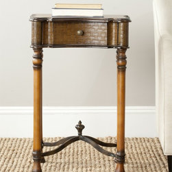 Safavieh - Safavieh Denise Brown End Table - Fit for a castle in Spain, the Denise side table is your passport to grand style. Inspired by medieval antiques, its subtle decorative finish and scrollwork make it the perfect addition for classic interiors