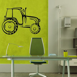 StickONmania - Tractor Design Sticker - A nice vinyl sticker and wall art design for your home Decorate your home with original vinyl decals made to order in our shop located in the USA. We only use the best equipment and materials to guarantee the everlasting quality of each vinyl sticker. Our original wall art design stickers are easy to apply on most flat surfaces, including slightly textured walls, windows, mirrors, or any smooth surface. Some wall decals may come in multiple pieces due to the size of the design, different sizes of most of our vinyl stickers are available, please message us for a quote. Interior wall decor stickers come with a MATTE finish that is easier to remove from painted surfaces but Exterior stickers for cars,  bathrooms and refrigerators come with a stickier GLOSSY finish that can also be used for exterior purposes. We DO NOT recommend using glossy finish stickers on walls. All of our Vinyl wall decals are removable but not re-positionable, simply peel and stick, no glue or chemicals needed. Our decals always come with instructions and if you order from Houzz we will always add a small thank you gift.