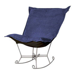 Bella Royal Puff Scroll Rocker - Titanium Frame - If you have ever sat in our Puff Chair, you would ask yourself, hat could possibly make this chair more comfortable? Well the Puff Chair in our Bella Fabric is the answer. This super lush fabric in rich vivid colors will make the Puff Chair THE most comfortable and soft chair you have ever sat in!