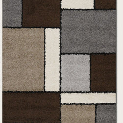 Couristan - Moonwalk Stonewall Chocolate Rug - Experience out-of-this-world style, comfort and value with Couristan's Moonwalk Collection, a variety of shag area rugs designed to bring a plush sense of sophistication to today's casual contemporary interiors. Combining the traditional texture of a shag rug with a captivating array of visual prints, this creatively inspired collection showcases true personality and a unique design perspective ideal for decorators on the cutting edge of trends. Offering simple, serene motifs that range from an organic-inspired leaf pattern to a collage of structured geometric blocks, Moonwalk area rugs feature a fresh palette of modern neutrals like Navy, Grey, Cream, Chocolate and Black. Wilton woven of highly durable 100% Heat-Set Courtron polypropylene, the thick shag surface also features a hard-twisted yarn effect which adds a speckled texture to the pattern and helps to reduce tracking, shading and shedding. All of the outstanding benefits of the Moonwalk Collection - including the exquisitely detailed construction, the soft yet hard-wearing pile fiber and the distinctive style of each design are available at an incredible power-loomed price point that brings fashion to the forefront. Features: -Material: 100% Heat-Set Courtron Polypropylene Shag.-Face-to-face Wilton Woven.-Frieze Yarns Reduce Tracking and Shading.-Thick Surface Features Soothing Contemporary Motifs.-Construction: Machine made.-Primary Color: Chocolate.-Secondary Colors: Ash, Ash Grey, Black, Sand & White.-Collection: Moonwalk.-Distressed: No.-Collection: Moonwalk.-Country of Manufacture: Belgium.-Construction: Machine Made.-Technique: Power Loomed.-Primary Color: Chocolate.-Border Material: 100% Heat-Set Courtron Polypropylene Shag.-Border Color: Chocolate.-Material: 100% Heat-Set Courtron Polypropylene Shag.-Fringe: No.-Reversible: No.-Rug Pad Needed: Yes.-Water Repellent: No.-Mildew Resistant: No.-Stain Resistant: No.-Fade Resistant: No.-Swatch Available: No.-