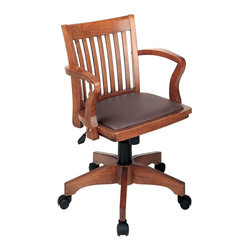 Office Star - All Wood Bankers Arm Chair w Padded Seat & Ca - A bankers arm chair is a delightful acquisition for any traditional office setting.  Quality wood construction is accented by the contoured back with vertical railed insets and raised castered legs.  Vinyl padded seat increases comfort for long work hours.  This wooden banker's chair features a padded vinyl seat for the perfect combination of beauty and comfort.  Adjustable tilt tension and tilt control along with adjustable pneumatic height control let you personalize the settings to fit your preferences. *  Pneumatic Seat Height Adjustment.  Locking Tilt Control with Adjustable Tilt Tension.  Wood Arms.  Medium Fruitwood Finish.  Warranty - 5 Years on all non-moving metal parts.  Warranty - 2 Years on component parts including Control mechanisms, pneumatic cylinders, wood, plastic parts, base andcasters.  Warranty - 1 Years on upholstery fabric and foam against wear and deterioration.  Wood Covered Steel Base with Dual Wheel Casters. Seat Size: 20.5W x 17.5D x 1T. Back Size: 18.5W x 17.25H x 1T. Overall Max: 37H x 23.75W x 22.75D