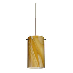 "Besa Lighting - Besa Lighting 1XC-4404HN Stilo 1 Light Halogen Cord-Hung Mini Pendant - Stilo 7 is a classic open-ended cylinder of handcrafted glass, a shape that will stand the test of time. This unique decor is handcrafted, with layered swirls of yellow-amber and golden-brown against white, finished to a high gloss. It's classic swirl pattern and high gloss surface has a truly florid gleam. Honey is a hand-blown glass designed to have a shiny and polished finish. The glass is gathered and rolled into shape a unique pattern is formed that cannot be replicated. This blown glass is handcrafted by a skilled artisan, utilizing century-old techniques passed down from generation to generation. Each piece of this decor has its own unique artistic nature that can be individually appreciated. The 12V cord pendant fixture is equipped with a 10' coaxial cord with teflon jacket and an ""Easy Install"" Dome monopoint canopy.Features:"