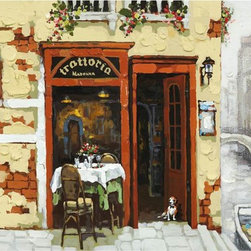 Yosemite Home Decor - Yosemite Home Decor ARTAA0798 Venetian CanalHome Decor Revealed Artwork Collecti - Charming acrylic painting of a rustic, Venetian trattoria with a green, outdoor table and chairs. The pale gold, stucco walls are painted with heavy texture and accented by brick red trim on the door and windows. completing the relaxing moment, flowers spill out of window boxes and a boat floats in the canal just steps away.