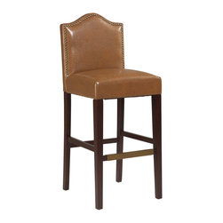 "Linon Home Decor - Linon Home Decor Manor Bar Stool Russet X-U10SUR406220 - Traditional in style, the Manor Russet Bar Stool has a sophisticated design and style. The seat back has an arching top and is accented with burnished bronze nail head trim. The plush Russet PU upholstered seat makes sitting comfortable. Straight lined legs have a rich Manhattan finish and are accented with a charming bronze kickplate on the front rung. Perfect for a traditional or transitional styled bar, counter or high top table. 30"" Seat Height. 275 pound weight limit."
