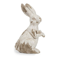 iMax - iMax Singleton Garden Bunny X-86365 - This happy, hoppy friend is perfect for adding character inside or out! With the look of aged, carved, white washed wood, this cotton tailed character works great as a door stop, a garden decoration, or a decorative room accent in an enclosed patio.