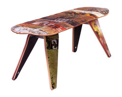 "Deckstool - Recycled Skateboard Furniture - Deckbench - Recycled Skateboard Bench, 48"" Deckbench - Two Seater - Deckbench - Recycled Skateboard Bench - 48"" Two Seater"
