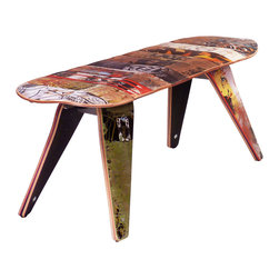 "Deckstool - Recycled Skateboard Furniture - Deckbench Recycled Skateboard Bench - Deckbench - Recycled Skateboard Bench - 48"" Two Seater"