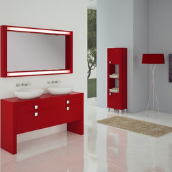 "Macral Tokyo 55"" Double sink console. Complete set. - 1. Double sink Vanity set. Tokyo 55"". Red matt lacquered."