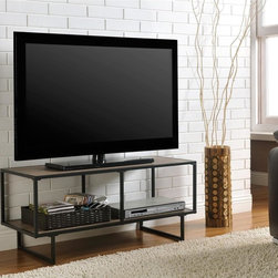 Altra - Emmett Gunmetal Grey TV Stand - A slim profile gives this fashionable TV stand its sleek,contemporary look. A great addition to virtually any decor,the Emmett TV Stand from Altra Furniture features an industrial chic metal frame in Altra's gunmetal grey finish.