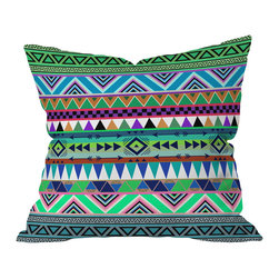 DENY Designs - Bianca Green Esodrevo Throw Pillow, 26x26x7 - Get in touch with your inner ancient Aztec. The angular design showcasing greens and blues appears on both sides of this woven polyester pillow, which was made in the USA.