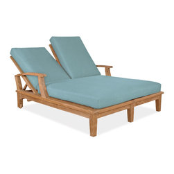 Thos. Baker - Teak Outdoor Double Chaise Lounger w/ Beige Texture Cushions | Veranda - The veranda collection of teak dining and deep seating outdoor furniture features our premium teak in a classic mid-century design. Mortise-and-tenon construction with marine-grade stainless steel hardware to withstand the elements. Grade A, sustainably harvested plantation-grown teak.Veranda pieces exhibit timeless design, supreme comfort and great value. Quick-ship cushions available in Sunbrella canvas and blue sage.  Or choose made-to-order cushions in one of many other Sunbrella and other performance outdoor fabrics. Please remember made-to-order cushion sales are non-refundable.Signature or premium cushion sales are final and ship in 2-3 weeks.