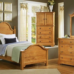 Vaughan Bassett - 5 Pc Youth Panel Bedroom Set in Oak Finish (T - Choose Bed Size: TwinIncludes double slotted panel bed, commode, vanity chest, double dresser and vertical mirror. Oak finish. Assembly required. Commode:. 2 Drawers. 1 Open shelf. 28 in. W x 16 in. D x 29 in. H. Vanity chest:. 4 Drawers. 2 Doors. 1 Adjustable shelf. 32 in. W x 23 in. D x 60 in. H. TV opening: 28 in. W x 20 in. H. Double dresser:. 6 Drawers. 52 in. W x 18 in. D x 36 in. H. Vertical mirror: 35 in. L x 2 in. W x 40 in. H. Panel bed:. Twin Size: (double slotted). Includes panel headboard, panel footboard and wood rails with 3 1-inch slats. Headboard and footboard have double slots for height adjustments. Optional trundle unit with face panel. Panel headboard: 41 in. L x 2 in. W x 58 in. H. Panel footboard: 43 in. L x 2.5 in. W x 29 in. H. Full Size: (double slotted). Includes panel headboard, panel footboard and wood rails with 3 1-inch slats. Headboard and footboard have double slots for height adjustments. Optional trundle unit with face panel. Panel headboard: 56.75 in. L x 2 in. W x 62 in. H. Panel footboard: 58.5 in. L x 2.5 in. W x 29 in. H. Wood rails: 76 L x 6 in. W x 1 in. H