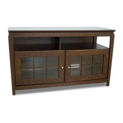 "Tech Craft - Veneto 48-Inch LCD TV Cabinet in Walnut Finis - 48 in. Wide walnut wood veneer finish ""Hi-Boy"" fits  50 in. and smaller flat panels. 28 in. Height makes it perfect for living room or bedroom setting. Wide walnut wood veneer finish ""Hi-Boy"" fits most 50 in. and smaller TV stands. Convenient component slots holds 2 or more components. Beautiful framed doors for concealed storage. Ample room for wire management. Made of walnut wood veneer. 48.25 in. W x 20 in. D x 28.12 in. H"