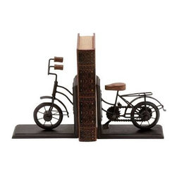 "Benzara - Bookend Pair Metal with Classic Cycle Design - Bookend Pair Metal with Classic Cycle Design. Helps keep your favorite book upright? Worried about ensuring safety of your special books? Beautiful bookend metal with classic cycle design (pair) can give that special book the special place it deserves using this metal bookend. It comes with the following dimensions 7""W x 3""D x 9""H (Open). 14""W x 3""D x 9""H (Pair)."
