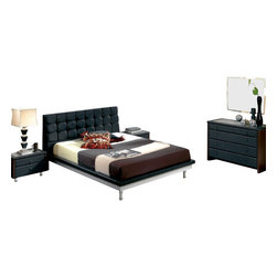 ESF - ESF Toledo Black Leatherette & Finish Queen Size Bedroom Set - The ESF Toledo bedroom set will be a great addition for any modern themed living room decor. The bed features a white finish frame with the top and headboard wrapped in a tufted black leatherette. The case goods comes in a two-tone color with the front panels and top in a black finish. The sides of the case good have a dark brown wood finish that adds to the overall look. Only solid wood products were used when crafting the bedroom set making it very durable. The bedroom set consist of a queen size bed frame, two nightstands, a dresser, and mirror only. A mattress is NOT included.