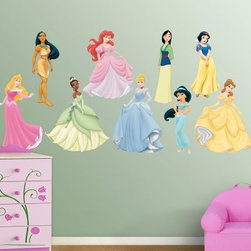 Disney Princess Collection Wall Decal - The Fathead Disney Princess Collection Wall Decal is made from tough, tear and fade-resistant vinyl and features high-resolution 3D graphics. Fathead wall graphics use a low-tack adhesive and can be moved and removed from walls without damaging surfaces.