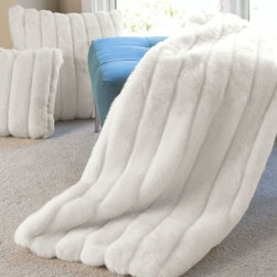 """Winter White Mink Faux Fur Throw - Winter White """"Mink"""" Faux Fur Throw Blanket is part of the Limited Edition Series and a classic design.  This timeless fake fur blanket feels like real fur due to its superb quality and outstanding fabrication. Throws have faux fur on the front and soft velvet on the back."""