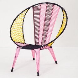 Color-blocked Basket Chair, Pink