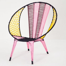 Color-blocked Basket Chair, Pink - Well hello, gorgeous! Sprinkle a few of these on a deck with a view and you've got yourself one heck of a sunset moment. Insert a glass of rosé, and you're golden.