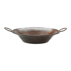 "Premier Copper Products - Premier Copper Products 21"" Round Miners Pan Vessel Hammered Copper Sink - Uncompromising quality, beauty, and functionality make up this Premier Round Vessel Style Bathroom Sink With Rigid Copper Wrapped Wire Rim and Copper Handles."