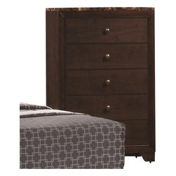 Coaster - Coaster Conner 5 Drawer Chest with Faux Marble Top in Walnut - Coaster - Chests - 200425 - You can have extra storage space for your bedroom decor with help from this chest of drawers. The piece carries a dark walnut finish and features brushed nickel round knobs as well as bracket feet for a balanced appearance. In addition, the five drawers are great for keeping sweaters, jeans, stockings, bed sheets and blankets. Plus, the marble-like top comes in a swirl of brown shades for a beautiful contrast. Simply stunning, this chest brings a fresh and modern appearance to your home decor.