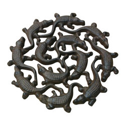 """AJ Tools - Cast Iron Alligator Stepping Stones - Cast iron Alligator stepping stones. Measures 11"""" x 11"""". No assembly required."""