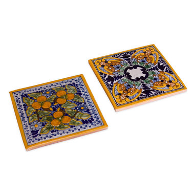 Native Trails - Spanish Garden Talavera Tile Trivets, Set of 2 - Go tile style when serving hot dishes or a pot of tea. They'll protect your tabletop while providing a vibrantly colored backdrop for the items they hold.