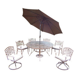 Oakland Living - 9-Pc Patio Round Dining Set - Includes one dining table, two swivel rockers with cushions, four cushioned chairs, 9 in. tilt crank umbrella with stand and metal hardware. Fade, chip and crack resistant. Traditional lattice pattern and scroll work. Handcasted. Umbrella hole table top. Hardened powder coat. Warranty: One year limited. Made from rust free cast aluminum. Antique bronze finish. Minimal assembly required. Chair: 21.5 in. W x 23 in. D x 34 in. H (27 lbs.). Rocker: 23 in. W x 17.5 in. D x 38 in. H (33 lbs.). Table: 60 in. Dia. x 29 in. H (70 lbs.). Overall weight: 283 lbs.This dining set is the prefect piece for any outdoor dinner setting. Just the right size for any backyard or patio. Center of the table can be replaced with an ice bucket. We recommend that the products be covered to protect them when not in use. To preserve the beauty and finish of the metal products, we recommend applying an epoxy clear coat once a year. However, because of the nature of iron it will eventually rust when exposed to the elements. The Oakland Mississippi Collection combines southern style and modern designs giving you a rich addition to any outdoor setting.