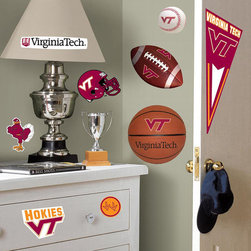 RoomMates Peel & Stick - Virginia Tech Wall Decals - Get your team spirit on with this set of collegiate multi-sports wall stickers. Our Virginia Tech wall decals can be placed safely on any smooth surface. Great for bedrooms, dorm rooms, and offices. You can move them around whenever you like, or replace them on their original liners for later use. Use them to decorate a room during your next football party, then store them until the next game. Works on tiles, accessories, mirrors, lockers, refrigerators, laptop covers, and even cars! RoomMates are so much more versatile than a conventional sticker. A great decorating pick for students or alumni! A great gift idea, too