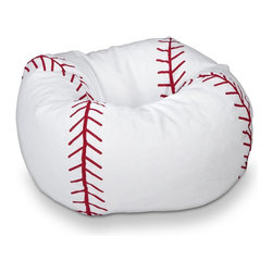 ABC Lifestyle - Baseball Bean Bag - Durable vinyl fabric and double stitched seams for durablility. Matte finish. Ergonomic seating position. Great for reading, playing video games, watching TV, relaxing. 29 in. L x 29 in. W x 10.5 in. H