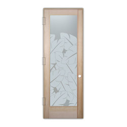 "Sans Soucie Art Glass (door frame material T.M. Cobb) - Interior Glass Door Sans Soucie Art Glass Banana Leaves Private - Sans Soucie Art Glass Interior Door with Sandblast Etched Glass Design. GET THE PRIVACY YOU NEED WITHOUT BLOCKING LIGHT, thru beautiful works of etched glass art by Sans Soucie!  THIS GLASS PROVIDES 100% OBSCURITY.  (Photo is View from OUTside the room.)  Door material will be unfinished, ready for paint or stain.  Satin Nickel Hinges. Available in other wood species, hinge finishes and sizes!  As book door or prehung, or even glass only!  1/8"" thick Tempered Safety Glass.  Cleaning is the same as regular clear glass. Use glass cleaner and a soft cloth."