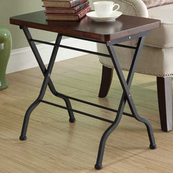 Monarch - Cherry / Charcoal Black Metal Folding Accent Table - This cherry finished folding accent table is both stylish and multi-functional. It features a spacious top where you can place your coffee cup as you read the latest novel yet it can be folded away for practicality. With its sturdy charcoal black metal base, this piece is one of a kind.