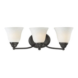 Z-Lite - Z-Lite 2116-3V Athena 3 Light Bathroom Vanity Light - With the delightful glow from its white mottle shades combined with the fixture's bronze finish, this vanity light fixture brings a new level of charm to any space.Specifications: