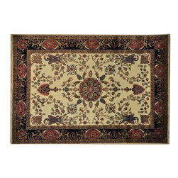 """Oriental Rug Galaxy - 8'7"""" x 12'4"""" Handmade Oriental Rug New Zealand Wool Ivory Sarouk 300 kpsi - Our fine Oriental hand knotted rug collection consists of 100% genuine, hand-knotted and hand-woven rugs from Persia, China, and other areas throughout Asia. Classic, traditional, and offered in a wide range of elaborate designs, every handmade rug is guaranteed to serve as a beautiful and striking element in any interior setting."""