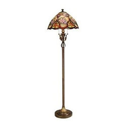 Dale Tiffany - Dale Tiffany Danby Floor Lamp, Antique Brass - TF50220 - Our Danby series lamps deliver an old world charm that blends well with today's design trends. The scalloped dome shade is a blend of floral patterns and textures. The top of the shade features pastel flowers accented with deep russet leaves. A series of pastel flower insets runs around the circumference of the shade. Panels of rich green are set between with large russet leaves. A ribbon of deep amber art glass meanders through the shade and along the bottom border. The addition of crimson art glass jewels throughout the design adds an additional layer of texture. The shade sits atop a gracefully sculpted base featuring a cut leaf detail directly below the shade and cast leaves on the stepped pedestal base, which has been finished in antique brass. Danby is a perfect choice as a reading lamp next to your favorite chair and will quickly become the focal point of any room in which it is displayed