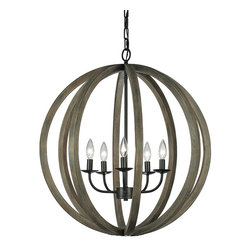 Feiss - Feiss F2936/5WOW/AF Allier 5 Light Weather Oak Wood Pendant Chandelier - Finish: WEATHER OAK WOOD / ANTIQUE FORGED IRON
