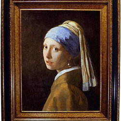 None - Vermeer - Girl with a Pearl Earring Framed Canvas - Christened the 'Mona Lisa of the North,' by the Dutch art scholar Ludwig Goldschieder, the Girl with a Pearl Earring is universa