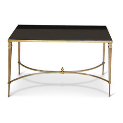Kathy Kuo Home - Antibes French Art Deco Regency Style Polished Brass Black Granite End Table - Occasional tables add endless options for entertaining and everyday convenience. With sleek lines and complementary materials, this piece also adds sparkle and style. Polished nickel, slender legs hold an onyx granite top for a stunning side table, corner table or even small coffee table.
