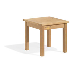 Oxford Garden - 18 in. Square End Table - Another great addition to complete a grouping of chairs or benches, this handy end table makes a setting look finished.  This end table is made of shorea, a teak family wood that is more dense and heavy than teak.  Shorea requires no finishing and will not rot when left outdoors where rain and sun will damage other lesser quality woods.  Left untreated, shorea will weather to a soft warm shade of gray similar to the weathering of teak.  Sturdy mortise and tenon construction provides the highest quality joinery that will last for many years.  Original color can be maintained by applying a seasonal coat of teak oil.