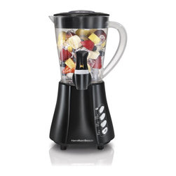 Hamilton Beach - Wave Station Express Dispensing Blender - Advanced Wave~Action system ensures smooth results.It 's not a party without the fun of a Hamilton Beach Dispensing Blender. Using the Wave~Action system, these powerful blenders pull ingredients down to the blades, creating silky smoothies and creamy shakes without chunks of ice or fruit. The results are so smooth, in fact, that they can be dispensed right into a cup. When the party 's over, the removable dispensers are easy to clean, making these blenders perfect for use any time.Enjoy easy-to-serve drinks that are always smooth and delicious-No more ice chunksRevolutionary Wave-Action system continuously pulls mixture down into the blades for smooth results every time9 blending functionsPowerful 350 Watt motorDishwasher safe DuraBlend jar - break resistant and lightweight 48 oz. capacityStainless steel bladesDispensing spoutConvenient spout cap