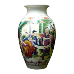 Golden Lotus - Asian Chinese White Porcelain Color Longevity Gather Vase - This porcelain vase has a simple white porcelain base color and colorful graphic of old men and kids gathering scenery.