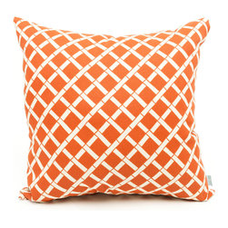 Majestic Home - Outdoor Burnt Orange Bamboo Pillow - Here's an instant style update for your favorite setting — indoors or out. The durable fabric's been treated with UV protection, so the bamboo pattern can bask in the sun and retain its good looks.