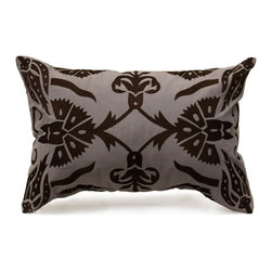 Sultana Pillow - Charcoal - The light, smooth charcoal hue of the Sultana pillow emphasizes the urbane smoothness of the natural linen used to construct its zippered cover, but the hand-embroidered lattice of flowers that patterns the decorative cushion is wildly lush and appealingly exotic. Tulips and dianthus are geometrically arranged on the rectangular cushion to create a look inspired by Persian carpets but bold enough for transitional rooms. A hidden bottom zipper confines feather filling.