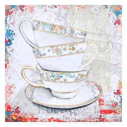 Yosemite Home Decor - Balancing Act I Art - Tea lovers and collectors we have the perfect painting to add to your home. This canvas features three gold rimmed tea cups stacked on top of each other with a matching saucer under Underneath. The tea cups have a pastel colored floral pattern and the background is a faint stencil like pattern with the edges more prominent in color.