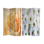 Oriental Furniture - 6 ft. Tall Floral Double Sided Room Divider - A simple, wonderful three panel decorative room divider, both front and back printed with stunning close up color photographs of beautiful flowers in full bloom. The front image is a close up of a stunning peach rose, caught on film at the moment of peak perfection; the back image is a bunch of fragile white blossoms creating a delightful natural pattern. This screen is perfect for providing a powerful decorative impact with a comparatively neutral color scheme, decorated with nature's symbol of beauty.
