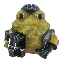 6 Inch Light Green Toad Hollow Biker Frog Solar Light Garden Decor - This 6 inch tall biker toad solar light was truly Born To Ride. He wears a black leather jacket, leather pants, black do-rag and has his front leg resting on a saddlebag. He even has a chain wallet in his back pocket. The back of his leather jacket reads 'Toad Hollow Cycle Works'. During the day, he's a regular statue, but at night, the flickering solar light turns on, and illuminates his light green body with bright white light. Made of cold cast resin, the toad measures 6 1/4 inches tall, 7 inches wide and 9 inches deep, including the solar collector panel. He's hand-painted, and shows great detail. he makes a wonderful gift for any frog lover or biker.