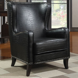 Coaster - 900162 Accent Chair - This sophisticated accent chair is covered in an embossed faux crocodile leather-like vinyl in black with a chrome nailhead trim.