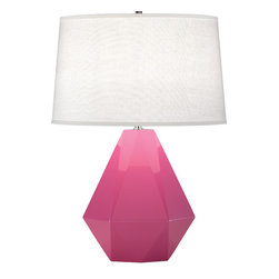 Robert Abbey - Delta Table Lamp, Schiaparelli Pink - Diamonds are a room's best friend with this gemstone-inspired table lamp. It's as multifaceted as you are, complimenting a variety of styles, from eclectic to modern. Whether you pick a bright pop of color or stick with a neutral, this is one diamond you'll hang onto forever.